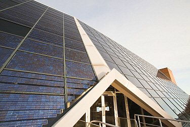 The Solar office on the Doxford International Business Park, Sunderland, North East, UK. The building has many green features including 73 Kw photo voltaic panel system on the front of the building. D...