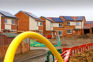 Gentoo house builder's Hutton Rise housing development in Sunderland, UK.  All of the houses have either solar thermal water heating or solar electric panels, some have both. December 2011