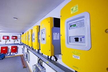Inverters for renewable generators on the island. Isle of Eigg, Scotland, UK,  May 2012