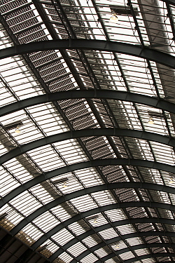 Solar panels on the roof of Kings Cross Station, London, UK. May 2012