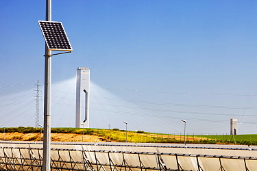 All three types of solar power, PV, tower and Parabolic trough at the PS20 solar thermal tower, the only such working solar tower currently in the world. Sanlucar La Mayor, Andalucia, Spain. May 2011