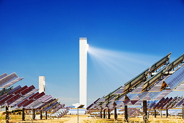The PS20 solar thermal tower, the only such working solar tower currently in the world. Sanlucar La Mayor, Andalucia, Spain. May 2011