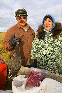 Inuit hunter gatherers on Shishmaref,  Alaska, USA. September 2004