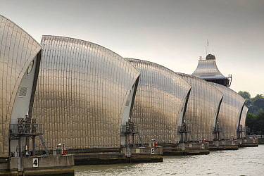 The Thames barrier on the River Thames in London. It was constructed to protect the capital city from storm surge flooding. London, England, UK, June 2014
