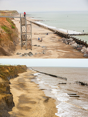 Composite shot showing coastal erosion at Happisburgh, Norfolk, UK. The first shot taken in 2010 shows the steps leading to the beach, the second shot taken in 2015 shows the two concrete blocks that...