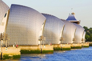 The Thames barrier designed to protect the capital from storm surge flooding, London, England, UK. May 2007