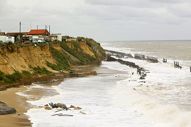 Happisburgh on the Norfolk Coast. This section of coa st is the fastest eroding point in the UK and speeding up to to global warming induced sea level rise and increased stormy weather. August 2006