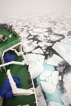 The Russian research vessel, AkademiK Sergey Vavilov an ice strengthened ship on an expedition cruise to Northern Svalbard, Norway, July 2013