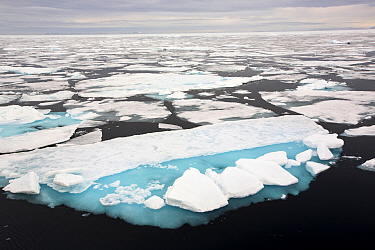 Rotten sea ice off the north coast of Svalbard, Norway. July 2013