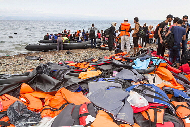 Syrian migrants, refugees fleeing the war,  Lesvos Island,  Greece. September 2015.