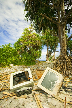 Computer parts discarded on Funafuti atol Tuvalu. March 2007