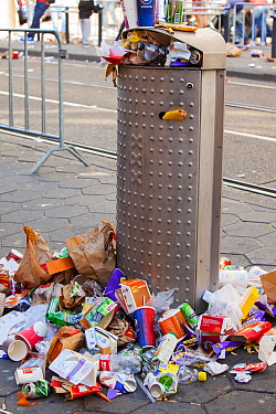 Litter on the streets of Amsterdam following the annual Queen day celebrations, Netherlands. April 2013