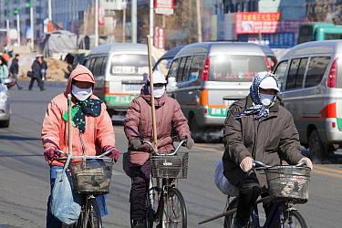 Road sweepers wear  face masks against the air pollution in Suihua city in Northern China.March 2009