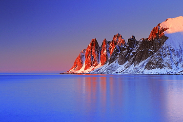 Teeth of the Devil rock formation on the coast of  Senja, Norway