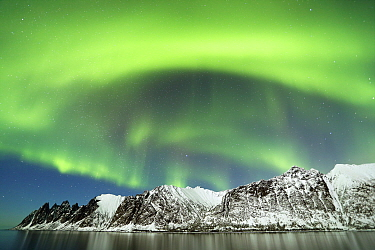 Northern lights over the coast of Senja, Norway, February