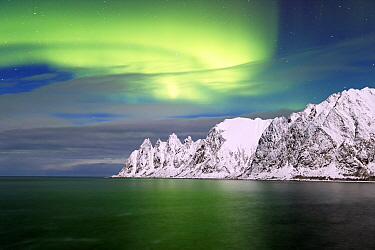 Northern lights over the coast of Senja, Norway, February.