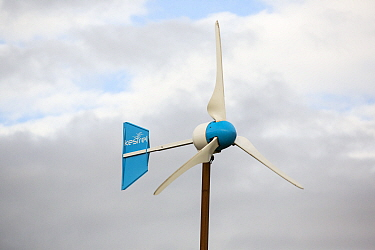 Kestrel wind turbine in Scoraig,  North West Scotland, UK. This whole community is off grid, powered by renewable energy. October 2013