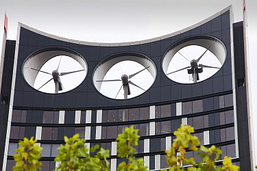 The Strata building at the Elephant and Castle in London,  the first building in the world where wind turbines have been integrated into the fabric of the building.  It has three 15 megawatt turbines...