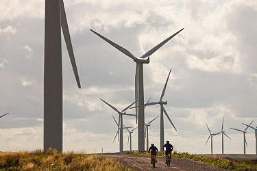 Mountain bikers at Black Law windfarm near Carluke in Scotland, UK. When it was constructed it was the largest wind farm in the UK with 54 turbines with a capacity of 97 Megawatts, enough to power 70,...