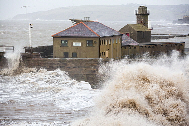 Whitehaven harbour during the January 2014 period of storm surge, high tides and storm force winds. The coastline took a battering, damaging the harbour wall and eroding a large section of coastal cli...