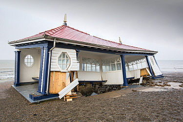 Victorian promenade shelter destroyed by severe storm, Aberystwyth, Wales, UK. January 2014