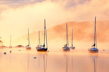 Sailing boats on  Lake Windermere during severe cold snap, Lake District, England, UK. December 2010