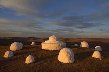 Traditional mongolian Ovoo shrine / Buddhist shrine near border between Russian and Mongolia.  Daurian Nature Reserve. Daurian Steppes UNESCO World Heritage Site, Zabaykalsky Krai, Siberia, Russia, Ju...