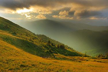 Sunlight shining through clouds onto alpine grassland of the Leota mountain range, Arges County, Carpathian Mountains, Romania, July, 2011