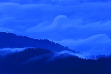 Leota Mountain range silhouetted at twilight with clouds, Arges county, Carpathian Mountains, Romania, July