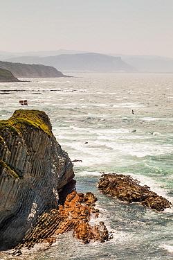 Windsurfer at Playa Arrietara, Sopelana, Basque Country, Spain. July 2015.