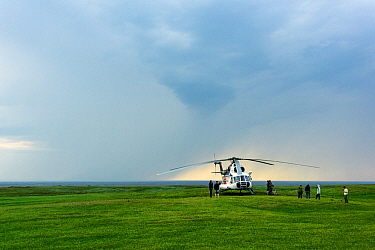 Helicopter landed near Nenet camp, Nenets Autonomous Okrug, Arctic, Russia, July 2017.