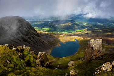 Llyn y Gadair from near the summit of Cadair Idris, Dolgellau, Wales, UK, September.