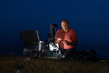 Photographer Solvin Zankl taking pictures of the Sea-fireflies (Vargula hilgendorfii) and Firefly squid (Watasenia scintillans) Japan, May 2017.