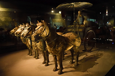 Horses and a carriage of the 'Terracotta Army' in Xian, Shaanxi, China, April 2018.