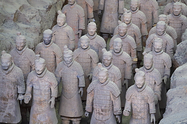 Part of the 'Terracotta Army', showing how they were buried and found in Xian, Shaanxi, China, April 2018.