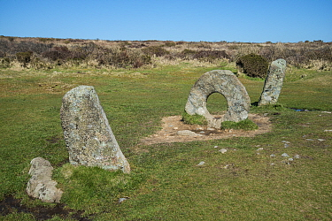 Men-an-Tol,  neolithic or bronze age monument, Cornwall, England, UK. March 2018.
