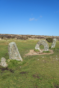 Men-an-Tol, neolithic or bronze age monument. Cornwall, England, UK. March, 2018.