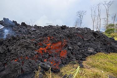 A'a lava which originated from Pu'u O'o, Kilauea Volcano, from a fissure in Leilani Estates, near Pahoa, Puna, Hawaii, USA.  June 2018.