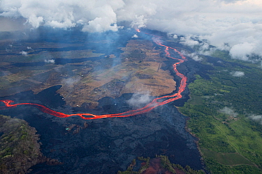 Aerial view of a river of lava, from Kilauea Volcano erupting from  fissure 8, Leilani Estates, Pahoa. Puna District, Hawaii. July 2018. June 2018.