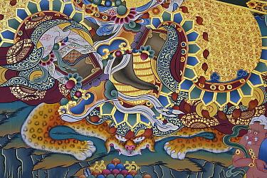Wall Painting in the Tibetan Lamaistic Buddhist Songtsam Monastery, Shangri-La or Xianggelila,  Zhongdian County, Yunnan, China. April 2018.