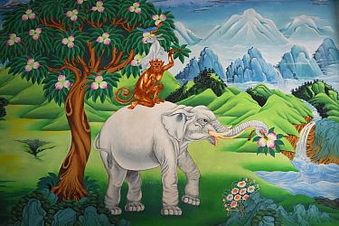 Elephant, monkey, rabbit and pigeon painting, The Tibetan Lamaistic Buddhist Songtsam Monastery, Shangri-La or Xianggelila,  Zhongdian County, Yunnan, China. April 2018.