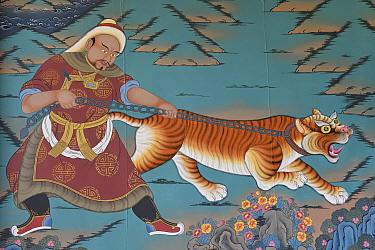 Tiger painting, the Tibetan Lamaistic Buddhist Songtsam Monastery, Shangri-La or Xianggelila,  Zhongdian County, Yunnan, China. April 2018.