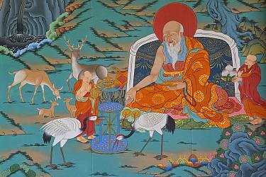 Painting with Deer and Cranes The Tibetan Lamaistic Buddhist Songtsam Monastery, Shangri-La or Xianggelila,  Zhongdian County, Yunnan, China. April 2018.