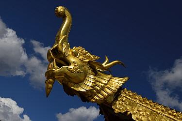 Elephant symbol, The Tibetan Lamaistic Buddhist Songtsam Monastery, Shangri-La or Xianggelila,  Zhongdian County, Yunnan, China. April 2018.