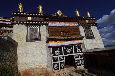 Deer symbols, The Tibetan Lamaistic Buddhist Songtsam Monastery, Shangri-La or Xianggelila,  Zhongdian County, Yunnan, China. April 2018.