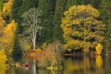 Canoes on Loch Tummel, Perthshire, Scotland, UK. October, 2014.