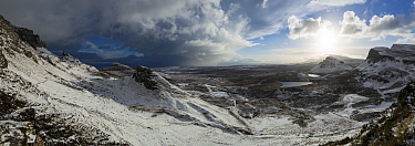 Quiraing in winter, Trotternish Peninsula, Isle of Skye, Inner Hebrides, Scotland, UK.