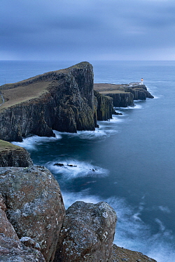 Neist Point Lighthouse and the Duirinish Peninsula, Isle of Skye, Inner Hebrides, Scotland, UK. February 2012.