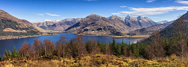 The Five Sisters of Kintail, Mam Ratagan pass and Loch Duich, Highlands, Scotland, UK. March 2017.