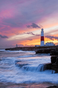 Portland Bill Lighthouse at sunset, Isle of Portland, Dorset, England, UK. November 2009.